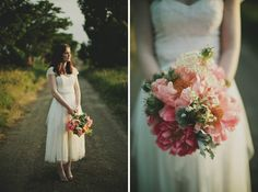 Pink Peach and Teal Wedding Bouquet and her hair colour.. LOVE!!