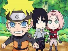 Uzumaki Naruto, Uchiha Sasuke and, Haruno Sakura (naruto SD) Naruto Sd, Naruto Team 7, Naruto Y Boruto, Naruto Sasuke Sakura, Anime Naruto, Anime Manga, Naruto Family, Sakura Haruno, Naruto Oc Characters