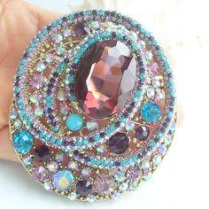"3.15"" Gorgeous Flower Brooch Pin W Multicolor Rhinestone Crystals EE05956C4"