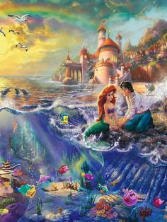 Disney characters - Little mermaid and the prince. A wonderful love story for kids of all ages.