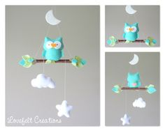 baby mobile baby mobile owl owl mobile mint by LoveFeltXoXo Baby Crafts, Felt Crafts, Crafts For Kids, Diy And Crafts, Owl Mobile, Baby Crib Mobile, Baby Mobiles, Homemade Business, Felt Wall Hanging