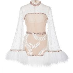 Sandra Mansour M'O Exclusive Embellished Tulle Mini Dress (€1.875) ❤ liked on Polyvore featuring dresses, white, long sleeve dress, long sleeve cocktail dresses, white tulle dress, short white cocktail dresses and white long sleeve cocktail dress