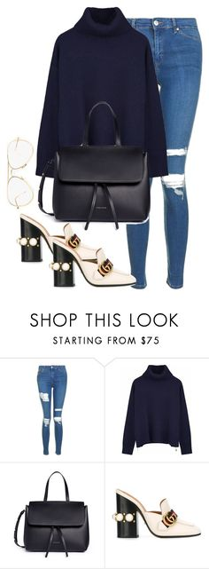"""Untitled #3663"" by theaverageauburn ❤ liked on Polyvore featuring Topshop, Ille De Cocos, Mansur Gavriel and Gucci"
