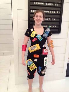 """The simplest way to pull off a """"movie theater floor"""" Halloween costume? Glue some old candy boxes and bags and trash to a black outfit, and. Halloween Costumes You Can Make, Couple Halloween Costumes For Adults, Homemade Halloween Costumes, Costumes For Teens, Creative Halloween Costumes, Simple Costumes, Adult Costumes, Halloween Ideas, Halloween Party"""