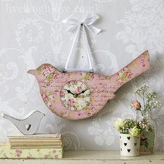 Pink Floral Bird Clock