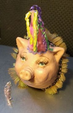 Retired Katherine's Collection Glittery Yellow Designer Pig/Piggy Bank B-Day Hat #KatherinesCollection #PiggyBank #Pig #Piggy #Farm #FarmAnimal #FarmAnimal NOT #VintagePig NOT #AntiquePiggyBank but still highly #Collectible #PigArt #Unique #UniquePig #Birthday #BirthdayArt #BirthdayGift #BirthdayThemed #BirthdayTheme #Rare #RarePig #Pigs #WhenPigsFly #PigsFly #PigsFlying #Piglet #PigPen #PigStye #Piggy