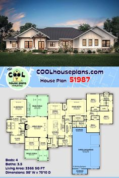 House Plans One Story, Ranch House Plans, Best House Plans, Craftsman House Plans, Dream House Plans, Country House Plans, House Floor Plans, Ranch Style Floor Plans, Texas House Plans