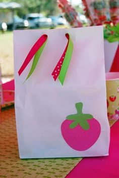 One more quick post before I go MIA for another little while! *WINK* Here are a few photos from my daughter's birthday party. Birthday Treat Bags, Birthday Favors, 4th Birthday Parties, 3rd Birthday, Birthday Ideas, Strawberry Shortcake Birthday, First Birthdays, Favor Bags, Gift Bags