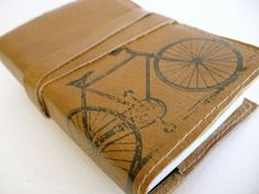 small leather sketchbook journal handprinted for you by inblue, $15.00