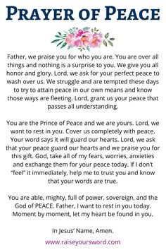 Prayer of Peace to bring comfort to your heart in the midst of worry and anxiety. Prayer For Comfort, Prayer For Peace, Night Prayer, Prayer Times, Power Of Prayer, Daily Prayer, Prayers For Hope, Prayers For Strength, Prayers For Healing