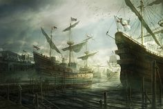 Awesome Detailed Digital Painting {art - Landscape Scenery (ships)} // Susan Constant by *RadoJavor Battle Of Lepanto, Landscape Illustration, Tall Ships, Photo Effects, Sailing Ships, Concept Art, Medieval, Digital Art, Digital Paintings