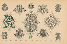 Schriftarten und  Zierschriften pm 1890  monogramme b