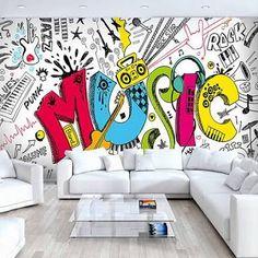 Image result for graffiti wallpaper for bedrooms