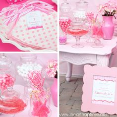Pretty in Pink First Birthday Party  You can find both of those tutorials here.  I created polka dot favor bags with ribbon and a thank you tag that they could fill with candy. At the candy station we had pink gumballs, sixlets, rock candy, gummy bears, suckers and bubble gum sticks.
