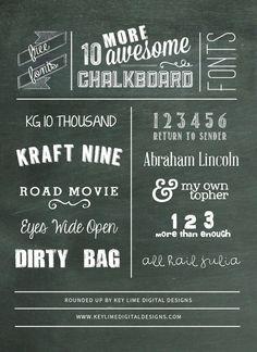 10 MORE Free Chalkboard Fonts www.keylimedigitaldesigns.com