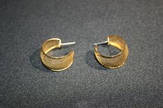 Vintage pair of Golden Mesh Hoop Earrings Costume Jewelry by KattsCurioCabinet on Etsy