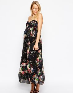 cc341228d1289 ASOS Maternity Maxi Dress in Digital Floral Print With Detachable Straps -  #babyshower #Look