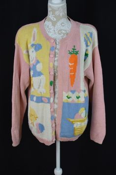 Alexandra Bartlett Women Large Easter Holiday Sweater Button Down Cardigan Bunny…