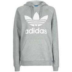 TopShop Trefoil Hoodie (205 BRL) ❤ liked on Polyvore featuring tops, hoodies, hooded sweatshirt, white hoodies, hooded pullover, sport hoodies and trefoil hoodie