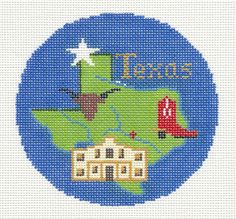 """Silver Needle TEXAS STATE Design handpainted 4.25"""" Needlepoint Canvas Ornament"""