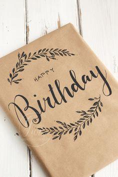 Creative Birthday Cards, Handmade Birthday Cards, Happy Birthday Cards, Diy Birthday, Creative Gift Wrapping, Creative Gifts, Handlettering Happy Birthday, Calligraphy Cards, Calligraphy Birthday Card