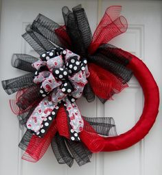 Red & Black Valentine's Day Polka Dot Heart Spiral Mesh Wreath. $45.00, via Etsy.