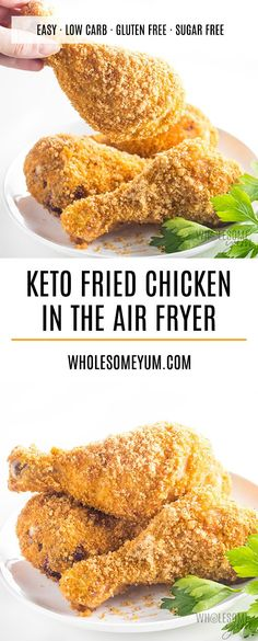 Air Fryer Keto Low Carb Fried Chicken Recipe - The best low carb fried chicken ever! This keto fried chicken is so crispy, you won't believe it. The secret to this air fryer fried chicken is the perfect grain-free breading. == CLICK THROUGH TO SEE! Low Carb Fried Chicken, Air Fryer Fried Chicken, Low Carb Chicken Recipes, Recipe Chicken, Air Fry Chicken, Chicken Fried Chicken, Air Fryer Recipes Chicken Wings, Gluten Free Fried Chicken, Keto Chicken Wings