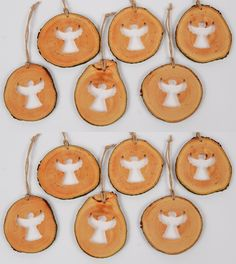 Wooden Christmas Ornaments, Christmas Decorations, Angel Silhouette, Handmade Wooden, Handmade Gifts, Shops, Natural Christmas, Linseed Oil, Wood Slices