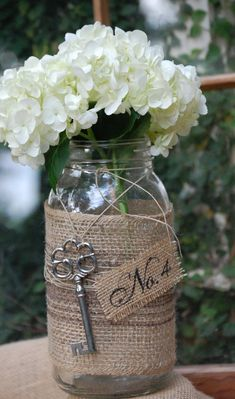 Decorative Burlap Mason 1/2 gallon Jars by THE JAR JUNKIE-- love the burlap and key!