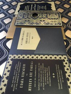 #ArtDeco #Invitaion #Wedding #BlackAndGold #Gatsby