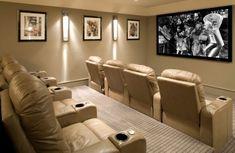 Éclectique style de cinéma maison Chambre en gris nuetral fraîche