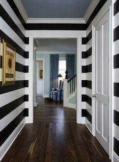 Big, Bold, Horizontally-Striped Walls, black and white, horizontal stripes, hallway