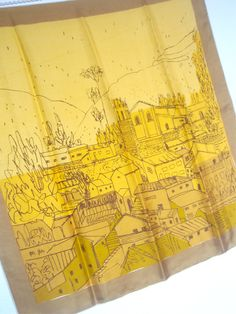 Italian History - a collector's favorite, vintage 1960's Vera Neumann Gold Piece Pure Silk Scarf - 31 inches. $ 128.00, via Etsy.
