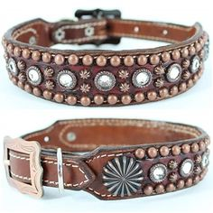 "A distressed dark red leather dog collar with alligator embossing featuring clear Swarovski Crystal ""bling"" and antique copper studs and conchos."
