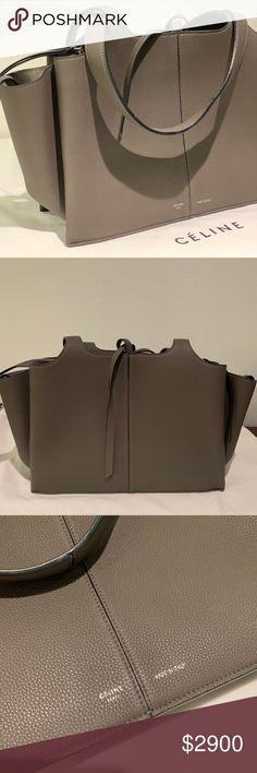 987f16729 NEW Small Celine Tri-Fold Grained Grey Leather Bag No longer made by Céline,