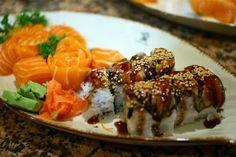 Salmon sashimi and Unagi roll
