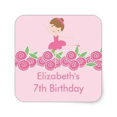 Shop Pink Ballerina Tutu Dance Birthday Party Sticker created by celebrateitinvites. Ballerina Tutu, Ballerina Birthday, Pink Birthday, 7th Birthday, It's Your Birthday, Dance Party Birthday, Birthday Thank You, Birthday Favors, Birthday Invitations
