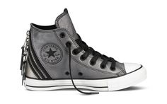 Converse Chuck Taylor All Stars Tri-Zip Detail Leather Trainers, Silver Converse All Star, Cool Converse, Converse Sneakers, Converse Chuck Taylor All Star, Chuck Taylor Sneakers, Canvas Sneakers, Converse High, Leather Sneakers, Geek Outfit