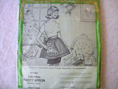Bucilla Needlecraft Kit, Christmas Apron, Vintage Bucilla, New Old Stock, Vintage Crafts on Etsy, Sold
