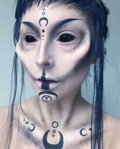 Instagram media by saramariarosenkilde - ALIEN DAY 3 • Tutorial out on my YouTube (link in bio) ✌️ ••• not sclera lenses - I've edited them ••• Products used: @grimas_bh Nose Wax @kryolanofficial Spirit Gum Vaseline @anastasiabeverlyhills Cream Contour Fair 'Fair' and 'Mink' @katvondbeauty Shade + Light Eye Palette @falahalymakeup Black Liquid Liner #makeup #artist #makeupartist #mua #halloween #31daysofhalloween