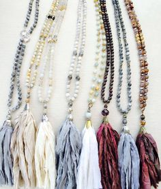 Tassel Necklaces by The Salty Sparrow Mala Necklace Diy, Necklaces, Four Seasons, Pattern Fashion, Fashion Jewelry, Bangles, Pottery, Beads, Projects