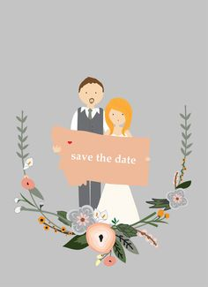 Illustrated Save the Date by BisforBrown on Etsy, $30.00