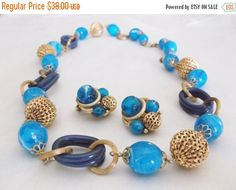 SALE Vintage Mid Century ART Marbled Blue Gold Tone Filigree Bead Round Oval Lucite Rings Necklace Clip Earrings Demi Parure Set Jewelry Gif by MemawsTopDrawer on Etsy https://www.etsy.com/listing/220779202/sale-vintage-mid-century-art-marbled