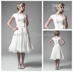 Best Selling!!!Wedding Dresses Vintage 50s' A Line Tea Length with Short Cap Sleeves Bateau Chiffon Real Beach Bridal Dress
