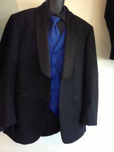 MENS BLACK TUXEDO W/ PLAIN ROYAL BLUE VEST, FREE SHIRT & TIE (SIZE ...