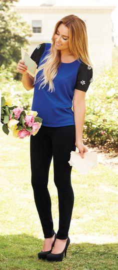 Lauren Conrad / navy blue and black embellished blouse with black skinny pants and black heels #LaurenConrad #newarrivals #Kohls