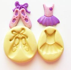 Ballet shoes and dress 1212 - silicone mold, craft mold, porcelain mold, jewelry mold, food mold, pop up mold, clays mold, flexible mold
