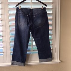 White House Black Market - crop/capri jeans  Sequined & distressed WHBM crop jeans.  These are Noir fit size 8.  The material is a heavier jean material 99% cotton with 1% spandex.  White House Black Market Jeans Ankle & Cropped
