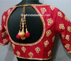 elbow length sleeves maggam embroidered blouse