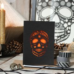 Mr Yen Lasercut Sugar Skull Greeting Card - £2.50 also available with an orange insert!